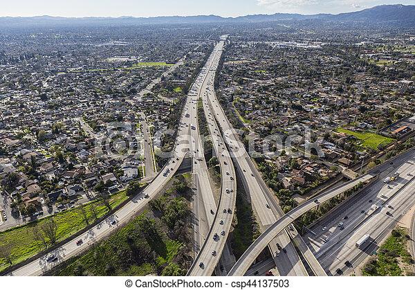 San Fernando Valley 118 Freeway in Los Angeles - csp44137503