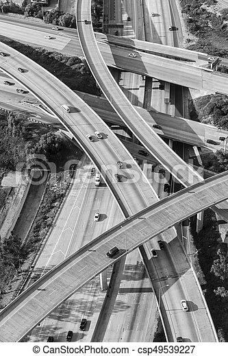 San Fernando Valley Freeway Interchange Aerial Black and White - csp49539227