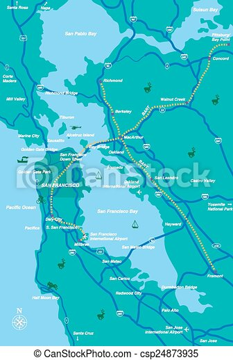 San Francisco Bay Area Map Illustration Created By Using Adobe