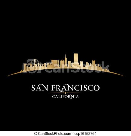 San Francisco California city skyline silhouette. Vector illustration - csp16152764