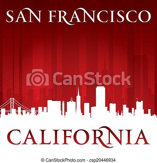 San Francisco California city skyline silhouette red background  - csp20446934