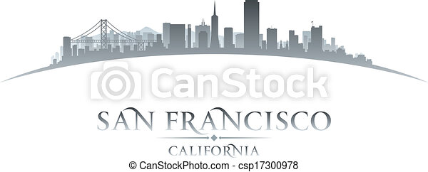 San Francisco California city skyline silhouette. Vector illustration - csp17300978