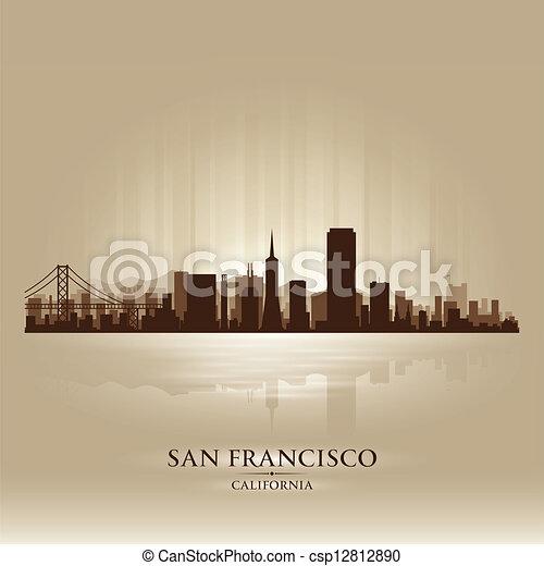 San Francisco, California skyline city silhouette - csp12812890