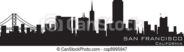 San Francisco, California skyline. Detailed vector silhouette - csp8995947