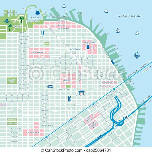 San francisco city map Illustration created by using adobe