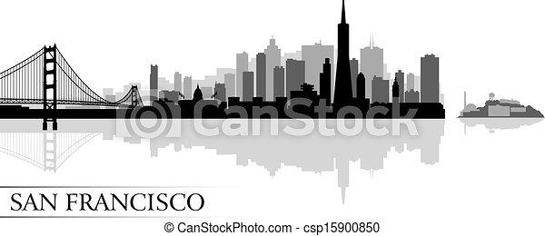 San Francisco city skyline silhouette background - csp15900850