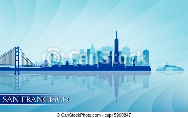 San Francisco city skyline silhouette background - csp15900847