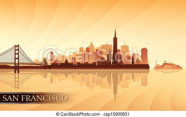 San Francisco city skyline silhouette background - csp15900831