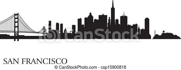 San Francisco city skyline silhouette background - csp15900818