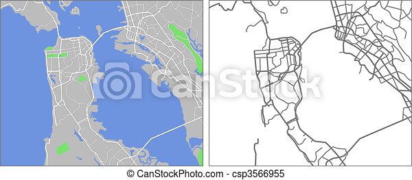 Illustration City Map Of San Francisco In Vector