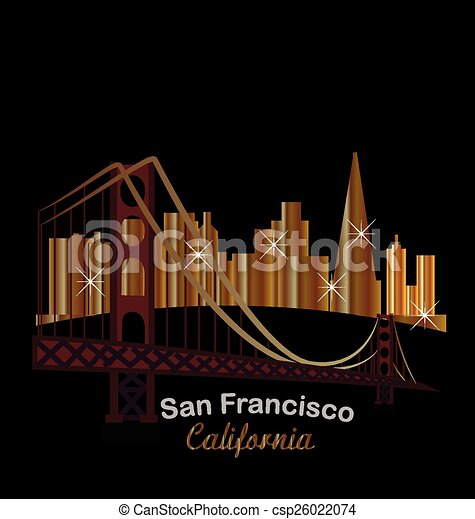 San Francisco gold skyline building - csp26022074