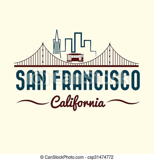 San Francisco Golden gate bridge and tram - csp31474772