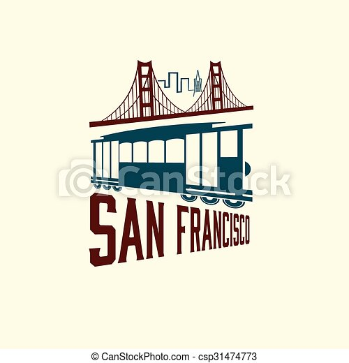 San Francisco Golden gate bridge and tram - csp31474773