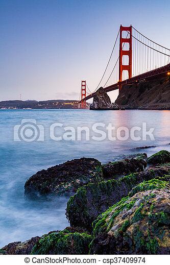 ?San Francisco Golden Gate Bridge at sunset - csp37409974