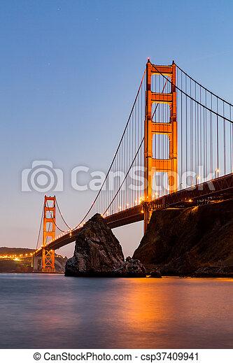 ?San Francisco Golden Gate Bridge at sunset - csp37409941