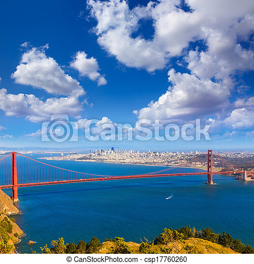 San Francisco Golden Gate Bridge Marin headlands California - csp17760260