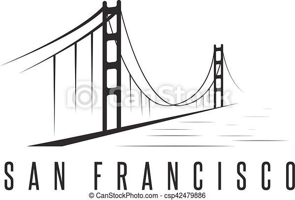 san francisco golden gate bridge vector design template illustration - csp42479886