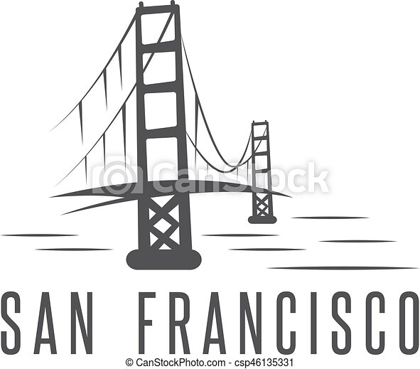 san francisco golden gate bridge vector design template illustration - csp46135331