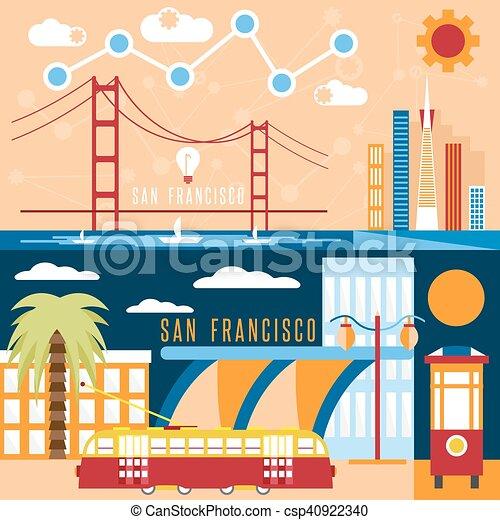San Francisco landmarks horizontal flat design vector banners - csp40922340