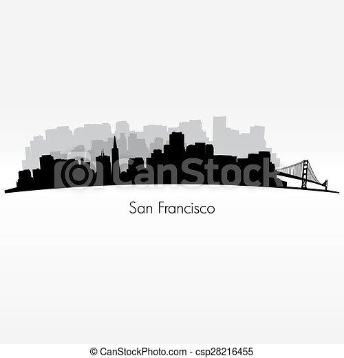San Francisco silhouette skyline  - csp28216455
