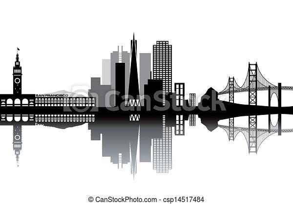 san francisco skyline black and white vector illustration