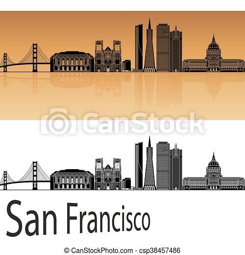 San Francisco skyline in orange - csp38457486