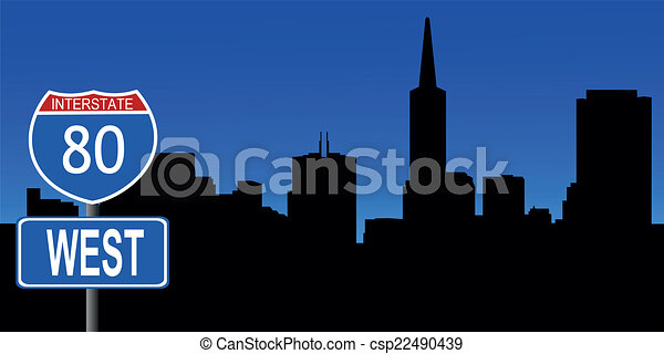 San Francisco skyline interstate - csp22490439