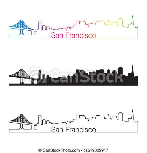 San Francisco skyline linear style with rainbow - csp19029917