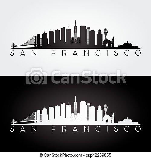san francisco skyline silhouette san francisco usa skyline and