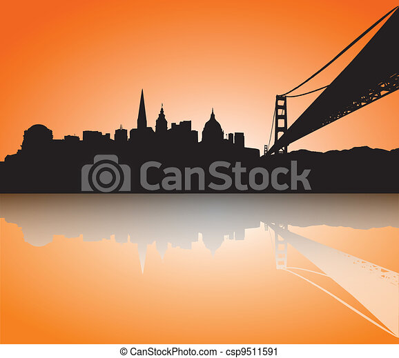 San Francisco Skyline Silhouette sunset - csp9511591