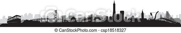 San Francisco Skyline Silhouette vector - csp18518327