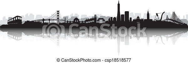 San Francisco Skyline Silhouette vector - csp18518577