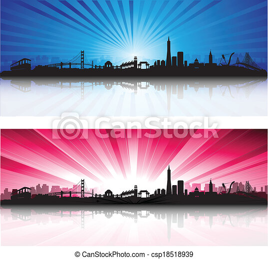 San Francisco Skyline with colorful Sky - csp18518939