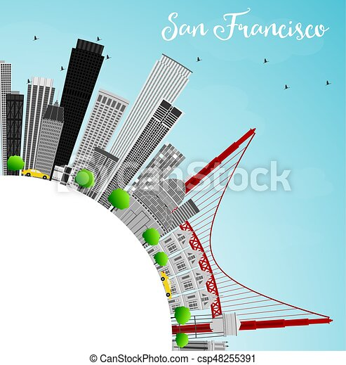 San Francisco Skyline with Gray Buildings and Blue Sky. - csp48255391
