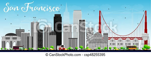 San Francisco Skyline with Gray Buildings and Blue Sky. - csp48255395