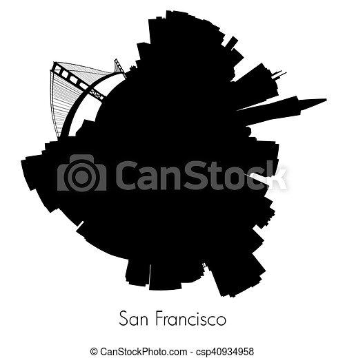 San Francisco vector circular skyline - csp40934958