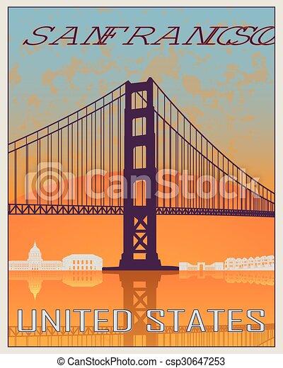 San Francisco vintage poster - csp30647253