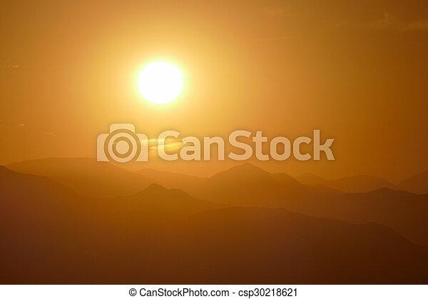 San Gabriel Mountains Sunrise near Los Angeles - csp30218621