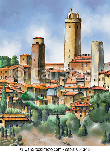 Original watercolor painting depicting san gimignano in for Disegno paesaggio marino