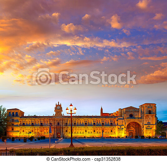 San Marcos in Leon at the way of Saint James - csp31352838