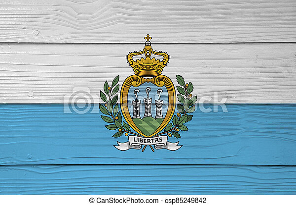 San marino flag color painted on Fiber cement sheet wall background, a horizontal bicolour of white and light blue; charged with the Coat of arms. - csp85249842