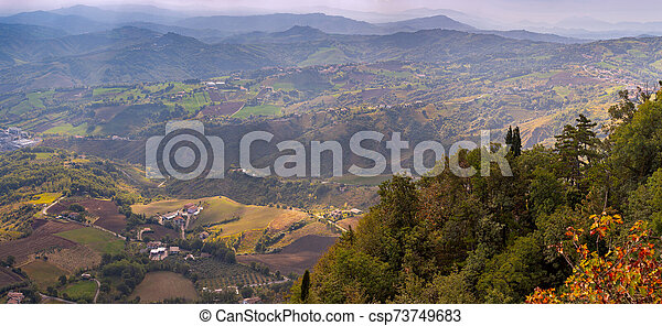 San Marino. Panoramic aerial view of the valley in the morning. - csp73749683