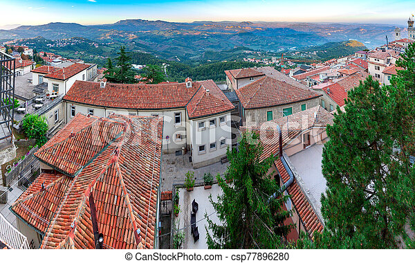 San Marino. Panoramic aerial view of the valley in the morning. - csp77896280