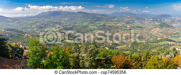 San Marino. Panoramic aerial view of the valley in the morning. - csp74595356