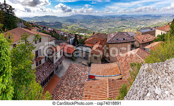 San Marino. Panoramic aerial view of the valley in the morning. - csp74018891