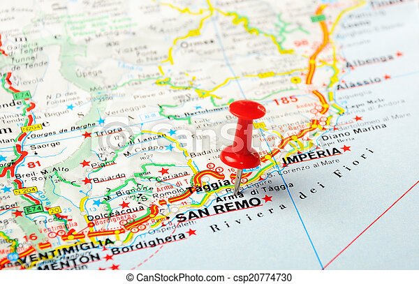 San remo italy map Red push pin pointing at san remo stock