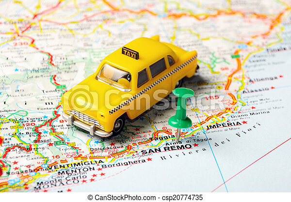 San remo italy map Green push pin pointing at san remo stock