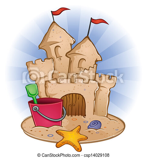 Sand Castle Beach Cartoon - csp14029108