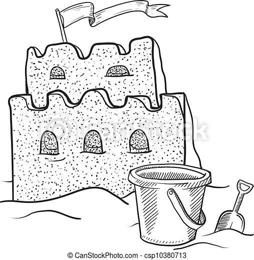 sandcastle clipart black and white. sand castle sketch csp10380713 sandcastle clipart black and white 7