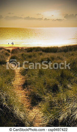 sand dunes at sunset - csp9497422